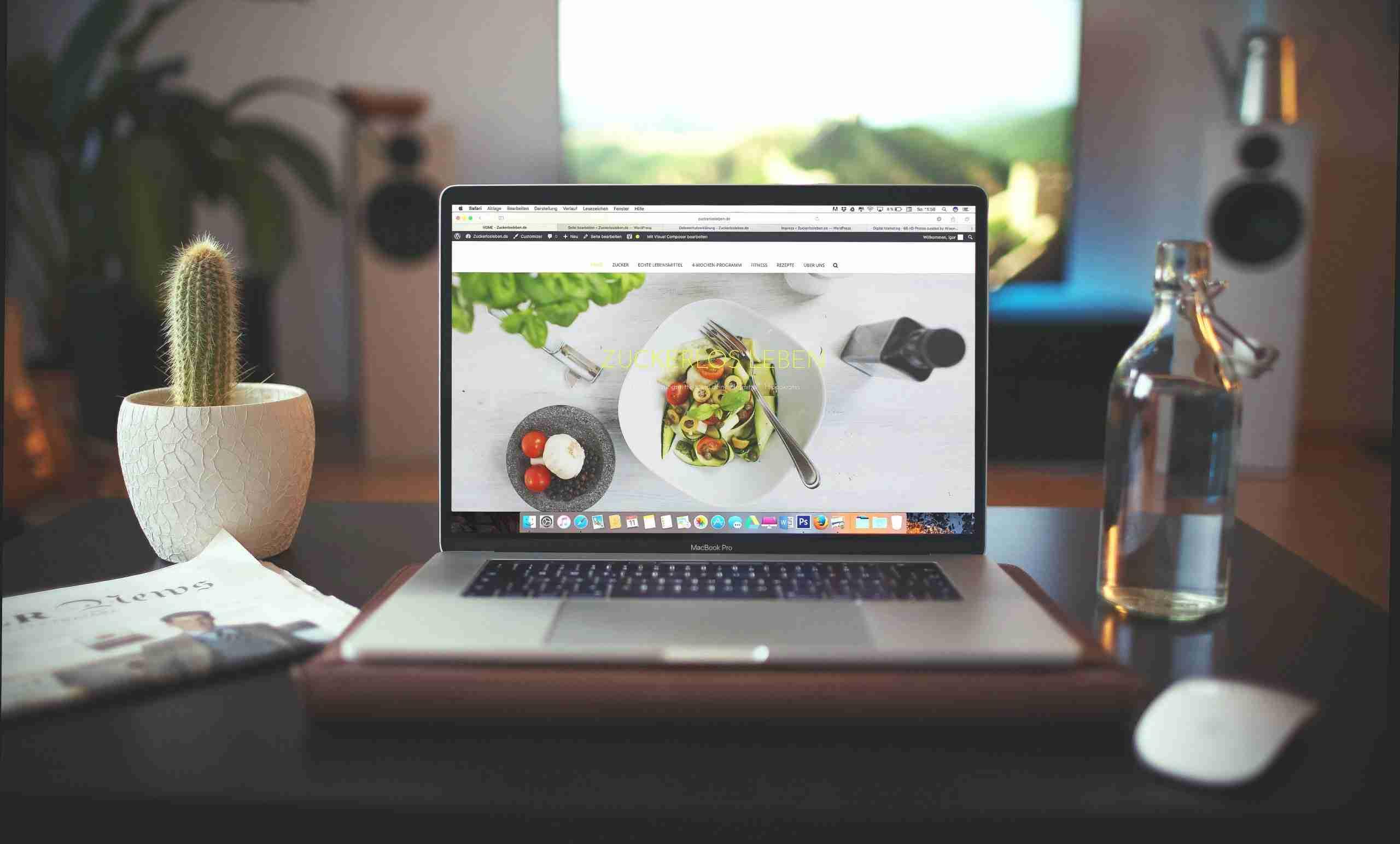 website on computer screen